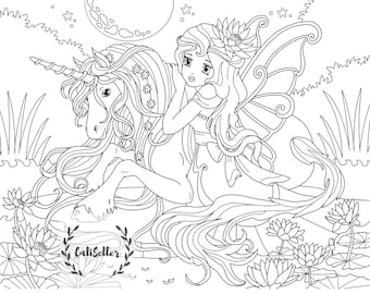 Printable Coloring Page For Kids of Unicorn Girl - Instant Download