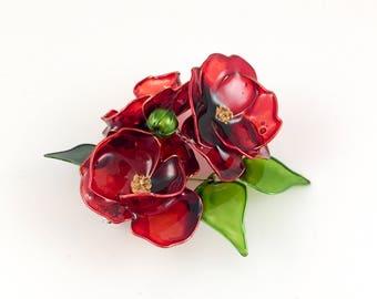 BROOCH. Poppy brooch. Flower brooch. Red poppy brooch. Red flower brooch
