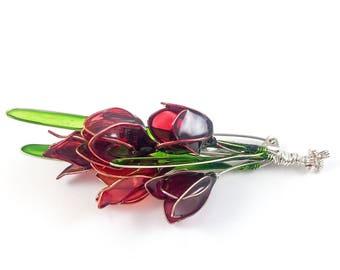 Tulip flower brooch. Red Flower brooch. Birthday gift. Jewellery