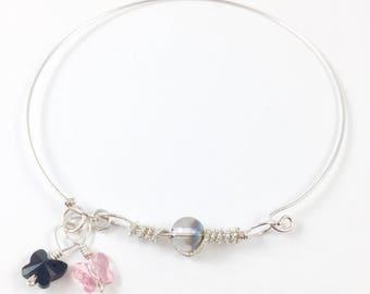 Silver bangle with Swarovski crystals