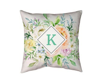 Floral Monogram Pillow Initial Letter Pillow Personalized throw pillow, Nursery Gift wedding gift, gift for her, Floral Monogram Cushion