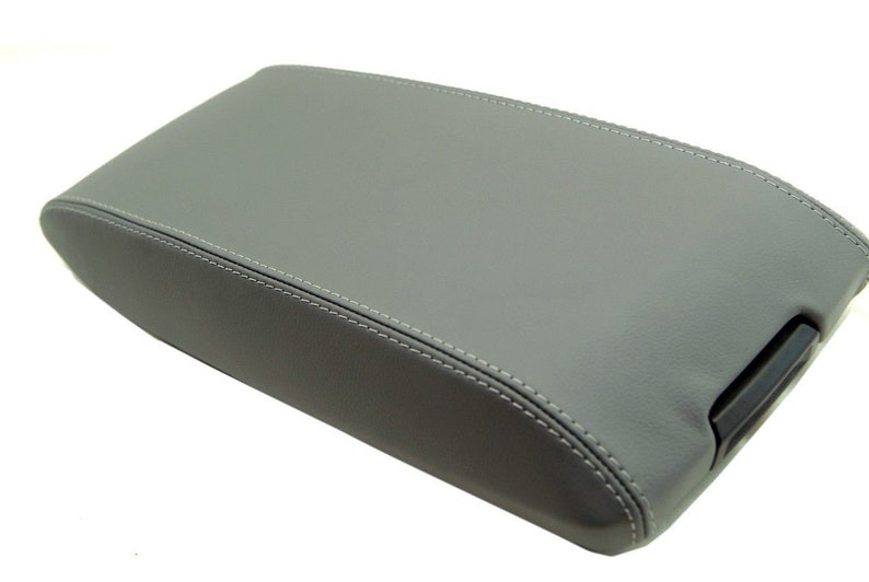 Leather Armrest Center Console Lid Cover Fits for Dodge Charger 2008-2010 Gray