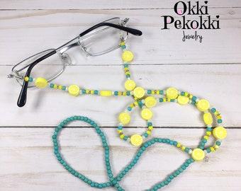 NEW Green Cats Eye Tigers Gemstone Beaded Glasses//Sunglasses Chain Strap Holder