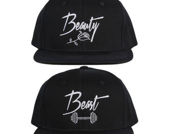 Beauty and Beast Hat Couple Hats His and Hers Couple Caps e3be9c87eb05