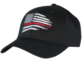 080e0122 Thin Red Line Hat Firefighter USA Flag One Size Adjustable buckle Hats  Strap Cap Fire department