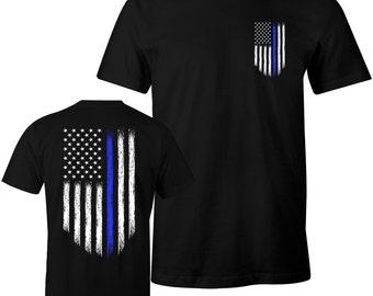 d9a4099b6 Thin Blue Line Shirt Police USA Flag Shirt Police Lives Matter Men's T-Shirt