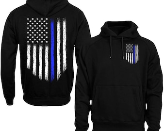 5c027d31 Thin Blue Line Hoodie Police USA Flag Hoodie Thin Blue Line Shirt Back the  BLUE Men's Hoodie