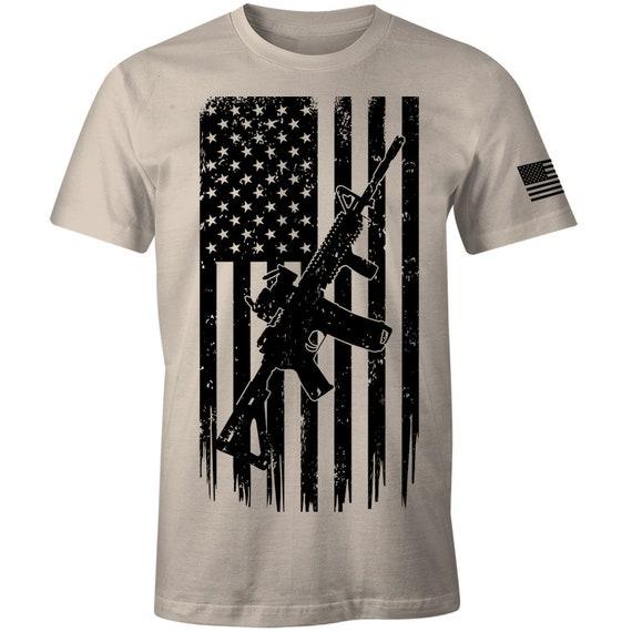 America 2nd Amendment AR-15 Machine Gun Rifle USA Flag Hooded Sweatshirt Hoodie