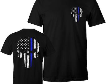 Thin Blue Line Shirt Police Shirt Blue Lives Matter LEO USA Flag Skull Men's T-Shirt