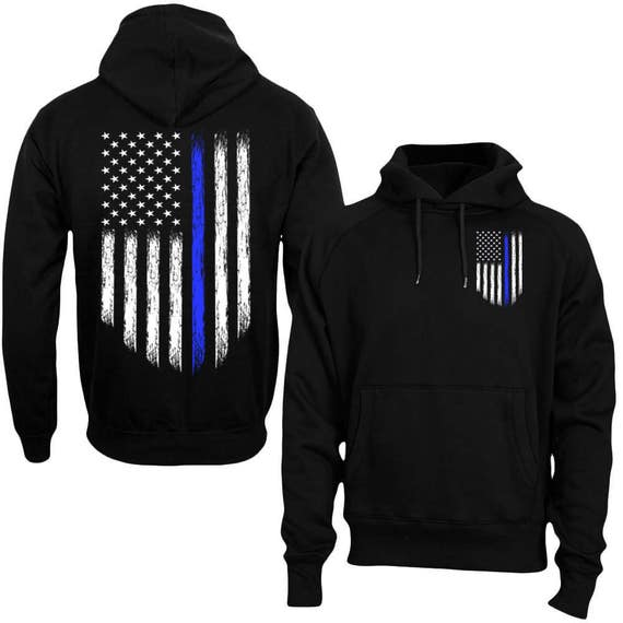 Thin Blue Line Flag Leo Police Support Front /& Back Mens Tank Top /& Keychain Gift