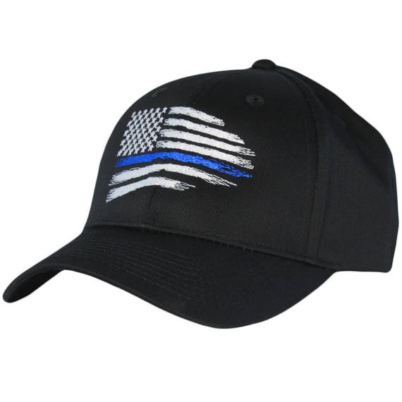 NEW Thin Blue Line Hat Cap Police Lives Matter Black Blue One Size Men Adult