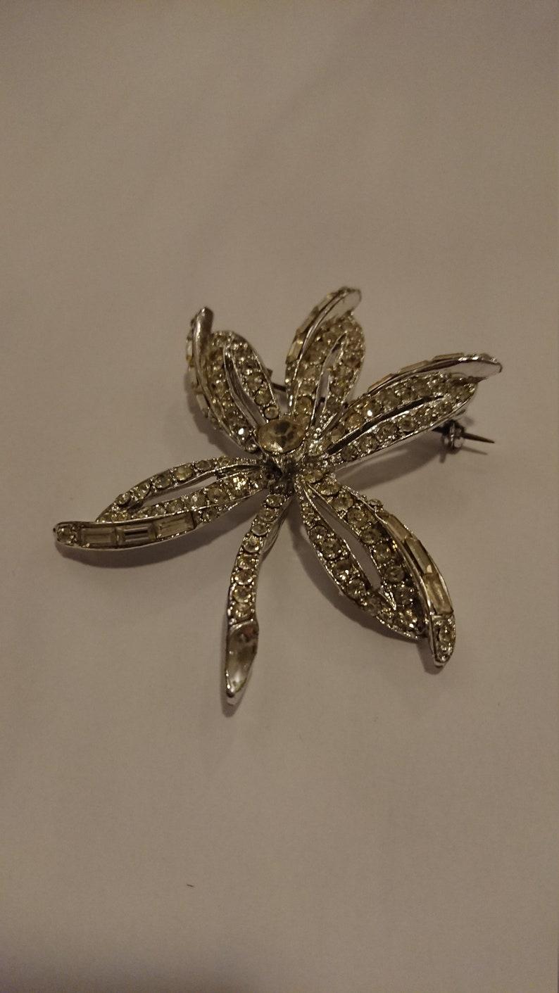 vintage diamante brooch by Capri Large
