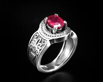 wedding jewelry for women wedding ring for women RUBY RINGS with White Topaz Sterling SILVER Rings Red African Designer Rarities