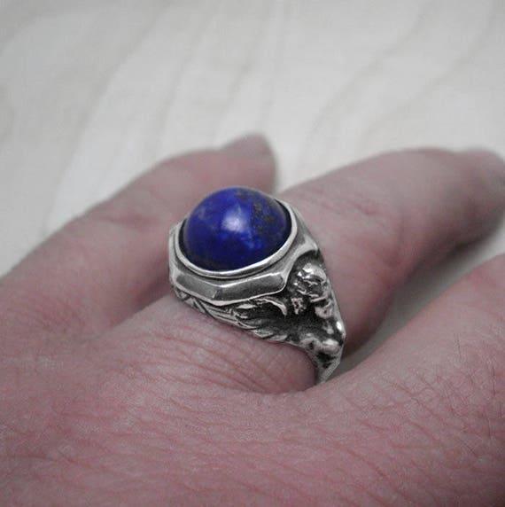 Angel ring,silver ring man,lapis lazuli ring,mens jewelry,vintage ring,gentlemans ring,mens gift,signet ring,birthday gift,lapis jewelry