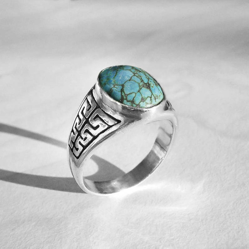 Chinese turquoise ring set in handmade sterling silver signed men/'s ringwomen/'s ring