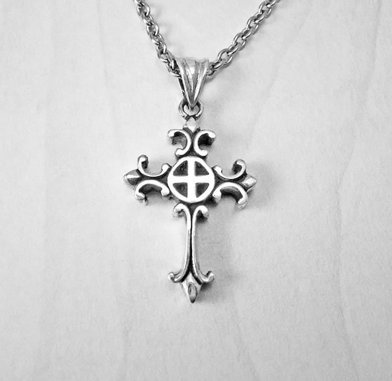 Sterling Silver Baptism Cross Tiny Fleur De Lis Cross Charm