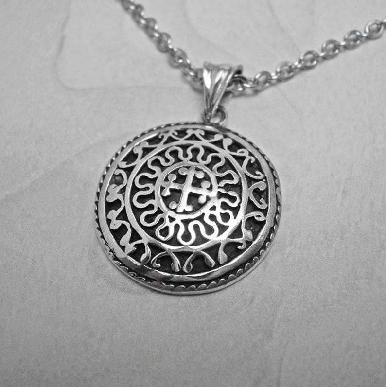 Silver necklace man,cross necklace,cross symbol,religious jewelry,medieval  necklace,antique necklace,mens jewelry,byzantine necklace