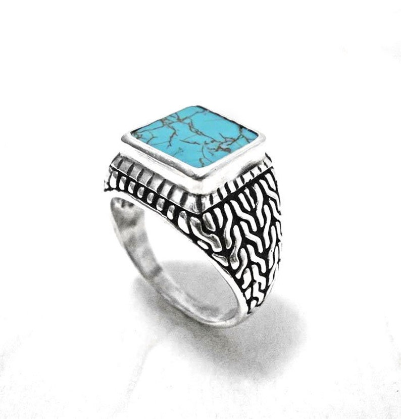 Silver ring man,turquoise ring,signet ring,mens jewelry,gentlemans ring,turquoise jewelry,braid ring silver,chevalier ring,gentlemans gift