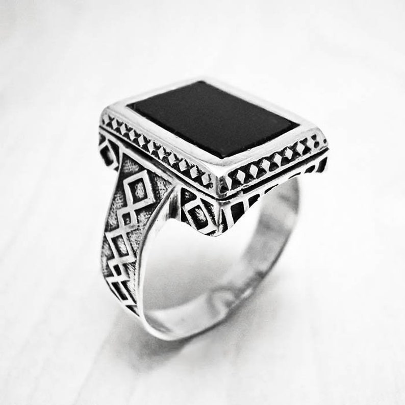 cb31da522 Silver ring manblack onyx ringsignet ringantique ringonyx