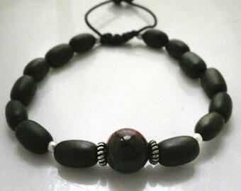 Mens beaded bracelet,Red Tiger Eye mens bracelet,Mala bracelet,surfer bracelet,adjustable mens bracelet,wood beads bracelet,beaded  bracelet