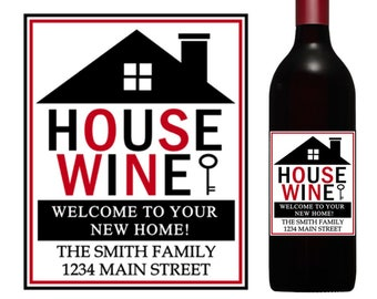 House wine label, housewarming wine label, custom wine labels, realtor gift, new home gift, realtor wine label, housewarming gift