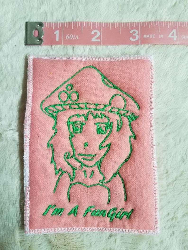 Mushroom girl FunGirl Patch original design patchwork embroidery pink and green