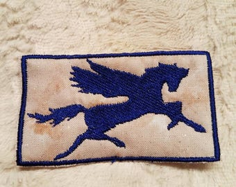 Pegasus Patch, Blue on Sparkling Cream Background, fantasy magical creature embroidered patchwork