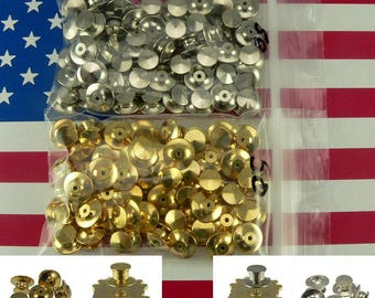 323df2cdd0d5 50 Locking Flathead Pin Backs Clutch Fastener Gold Chrome For Disney  Collectible