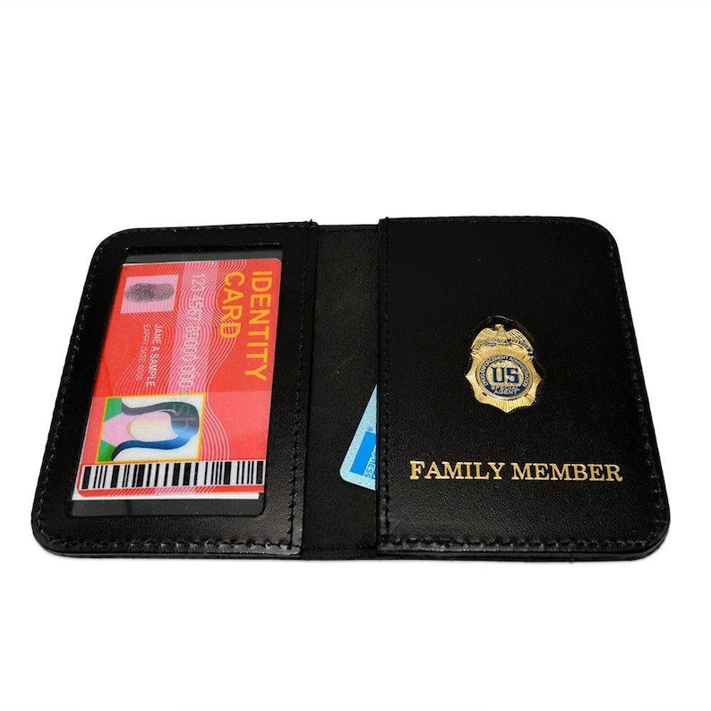 DEA Special Agent Family Member ID Wallet Leather License Case - Custom  Imprint - Personalized - Mini Badge ID Holder
