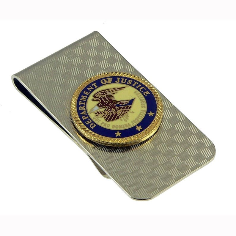 DOD Department of Defense Military Emblem Money Clip Gold NEW