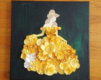 Princess silhouette art, ballgown silhouette, yellow ballgown paper flower art, kids room art nursery art, fairy tale art, princess art