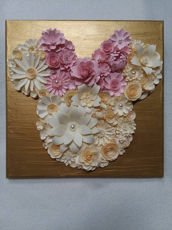 Mouse Head With Bow Handmade Paper Flower Canvas Nursery Etsy