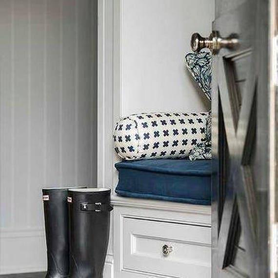 Designer Bench Cushion Cover Blue Velvet Wt Matching