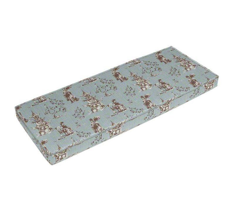 Chinoiserie Pagoda Designer Bench Cushion Cover Asian Fabric Light Grey Blue Piping Zipper Indoor Window Mudroom Dining Room