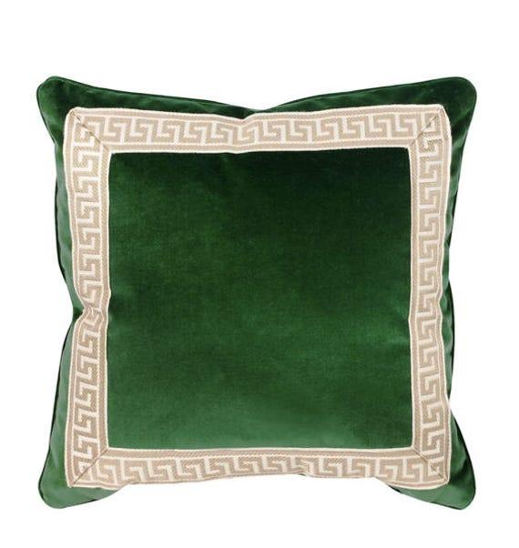 Greek Key Kelly Green Velvet Pillow Cover tape navy white ribbon trim All Size Available designer high end