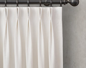 Designer Off-White Drapery Weight Linen Mix Lined Curtain Panel fabric Window treatment French pinch pleat pleated blackout lining