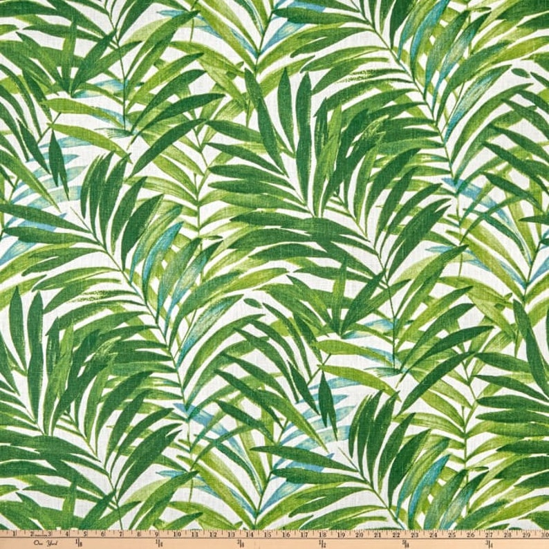 Drapery Upholstery Fabric 100/% Cotton Duck Tropical Leaves Linen