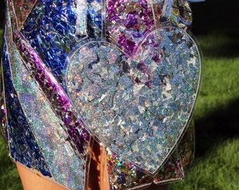 Silver Confetti Heart Handbag