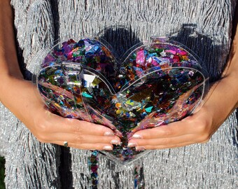 Purple Confetti Heart Handbag