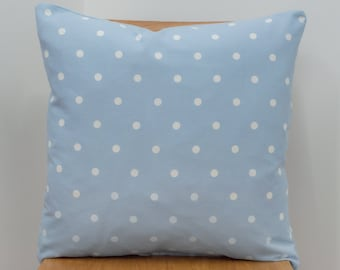 Cornflower Blue Polka Dot Throw Pillow