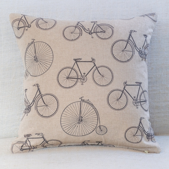 """Shabby Chic Linen Penny Farthing. Vintage Bicycle Cushion Double Sided 17x17/"""""""