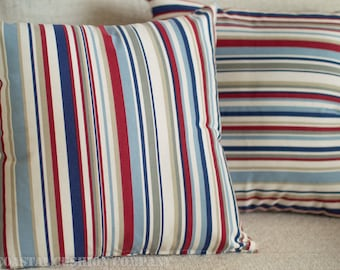 "Nautical Blue and Red Marine Stripes Cushion. Coastal deckchair style stripe printed design. 17"" x 17"" Square, 100% Cotton."