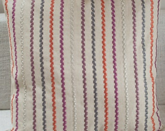 """Extra large embroidered stripe linen blend cushion cover. Multicoloured striped design. 23"""" x 23"""" square. Linen blended fabric."""
