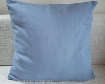 "Extra large plain blue linen blend cushion cover. Duck egg blue. 23"" x 23"" double sided floor cushion cover."