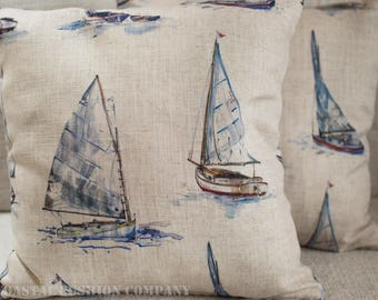"Coastal Linen Yachts Cushion Cover. Nautical marine sailboats, printed decorative pillow. 17""x17"" Square linen blend cushion cover."