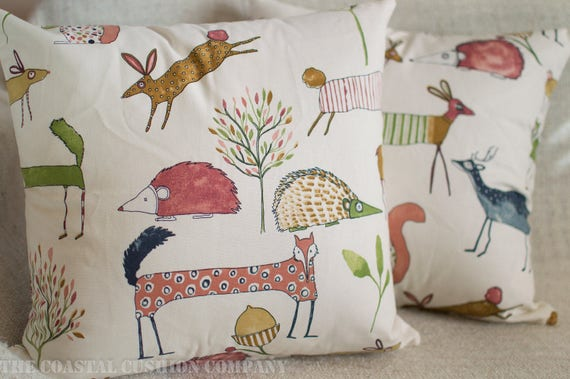 """Linen style Cotton Vintage Hares Double Sided Cushion Rabbit. 17x17/"""" Square"""