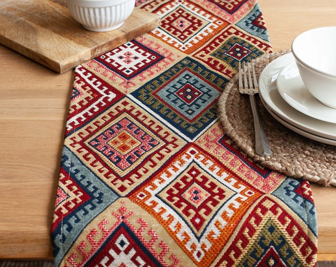 Turkish Kilim Table Runner. Abstract Geometric Ethnic Style Tapestry Table Decoration. Available in Two Sizes.