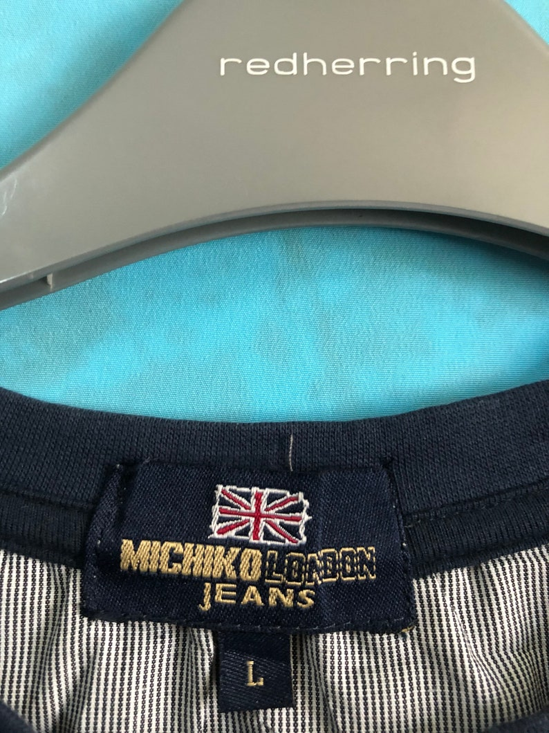 ON SALE! VTG michiko london jeans patches maps london grey large #806