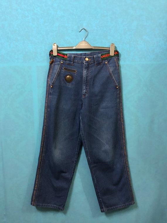 SALE! VTG hardy amies london jeans striped sewing logo metal emblem size 79 #1081