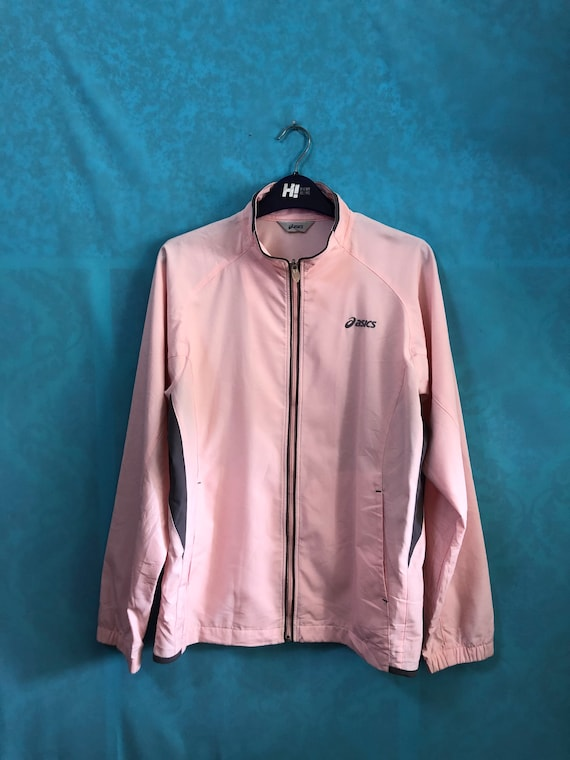 SALE!!VTG asics windbreaker zipper pink track top